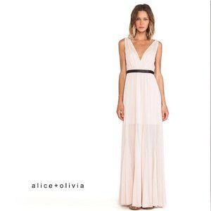 ALICE + OLIVIA Nude Kendrick Pleated Dress Size 2